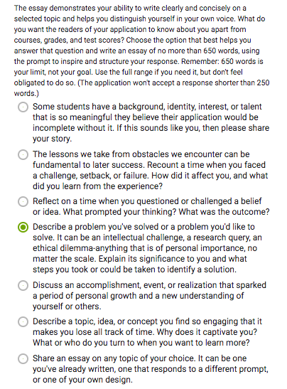 Common App personal statement prompts 2019-2020
